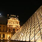 Louvre at Night with the Moon Rising by arushton