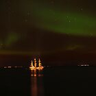 Ship and the Northern Lights by Árni  Tryggvason