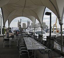 Lunch beside the Marina, Fishermans Wharf, Gold Coast. Qld. Australia by Marilyn Baldey