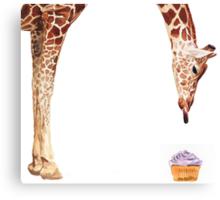 """Licker with Cupcake"" Giraffe Watercolor Canvas Print"