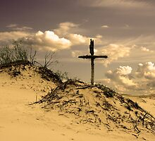 Golden dunes with a cross by 4Seasons