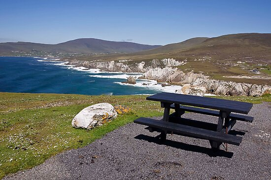 my fav picnic table seascape view from achill island, ireland by upthebanner