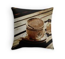 Dirty coffee cups in sepia with texture Throw Pillow