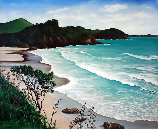 Incoming Tide - Sandy Bay, Northland (2009) by Lauren Worsley