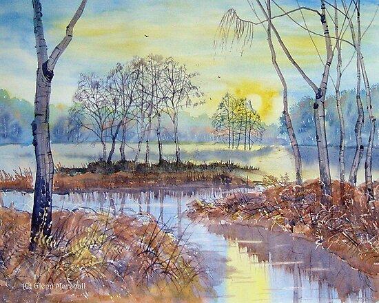 SUNSET ON SKIPWITH MARSHES by Glenn Marshall