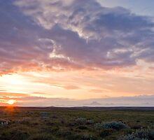 Sunset near Golden waterfall by Stefán Kristinsson