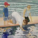 reflections of children on the beach  by Susan Brown