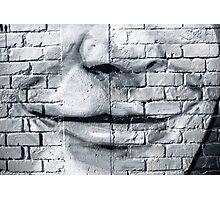 Graffiti smile on the textured brick wall Photographic Print