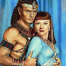 Yul Brynner and Anne Baxter Color Pencil  @ www.KeithMcDowellArtist.com  by  Keith McDowell, Artist