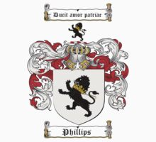 Phillips Family Crest / Phillips Coat of Arms T-Shirt by coatofarms