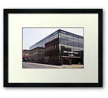 Reflections In Chase Building Framed Print