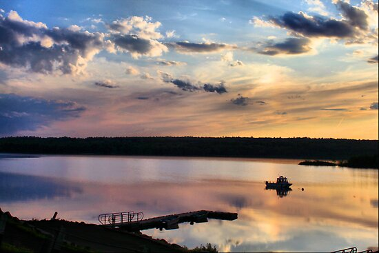 Sunset at Quabbin Reservoir, MA by Evelina Kremsdorf