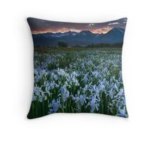 Wild Iris and Sierra Sunset Throw Pillow