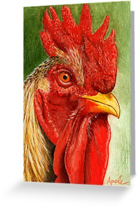 The Red Rooster - farm animal painting by LindaAppleArt