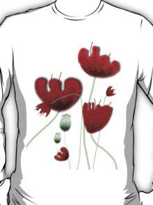 Poppy red granate sexy landscape summer france bloom garden t-shirt T-Shirt