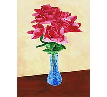 Vase of Red Flowers Photographic Print