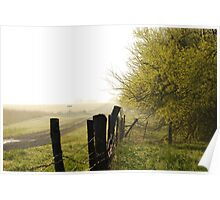 Misty Country Morning in Kansas Poster