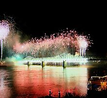"""""""Fireworks Over Louisville Ky. On The Ohio River"""" by Melinda Stewart Page"""
