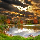 Pond Sunray Sunset by pinkarmy25