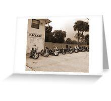 Bikes at no name saloon Greeting Card