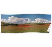 Dotted hills, rising clouds Poster