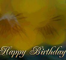 yellow flowers Happy Birthday by Donna Grayson