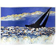 Catching the Wind, Sailboat in the Ocean at Sunset Poster