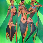 Three Ethnic Traditional Black Women Dancing by taiche