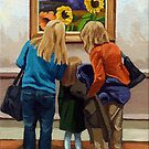 Three Sunflowers - people painting by LindaAppleArt