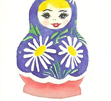 Russian Doll with Daisies by Courtney Carlson