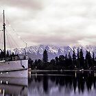 """Queenstown at Dusk featuring the """"Earnslaw"""" by Trevor Wallace"""
