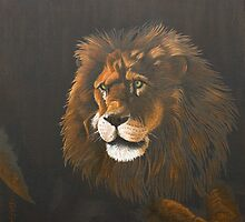 Out of the dark-Lion by Pauline Sharp