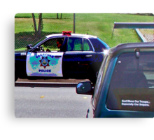 OFFICER TICKETING A LIMO DRIVER Metal Print