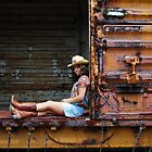 Cowgirl Rides the Train by ericseyes