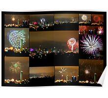 Collage of Fireworks over Kansas City, Missouri, Skyline Poster