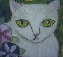 White Cat Petunias & Pansies by sharonkfolkart