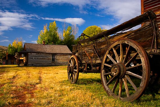 Nevada City Ghost Town, Cart and Cabin. Montana USA. by photosecosse /barbara jones