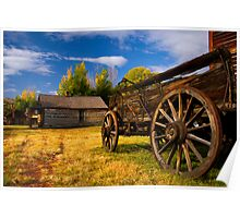 Nevada City Ghost Town, Cart and Cabin. Montana USA. Poster
