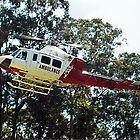 Helimed 1 leaving Noojee, Gippsland, Victoria by Bev Pascoe