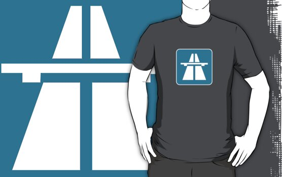 Autobahn tee on blue by Andre Gascoigne