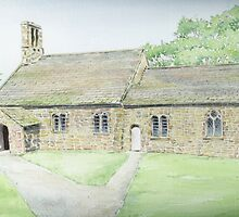St Peter's Church, Heysham, watercolour painting. by Tigerspace