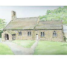 St Peter's Church, Heysham, watercolour painting. Photographic Print