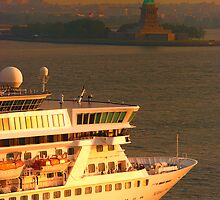 NORWEGIAN CROWN ENTERING NY HARBOUR @ SUNRISE by Duane Salstrand