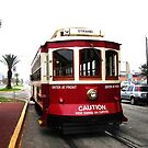 Red Trolley, Galveston Island by Charles Buchanan