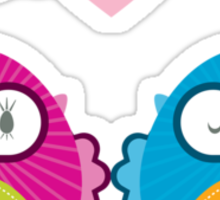 OWLS IN LOVE :: bright Sticker