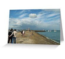 Walk along Howth Pier Greeting Card