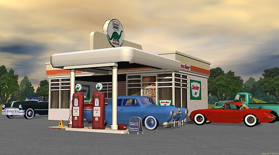 1950&#x27;s Gas Station by Walter Colvin