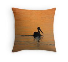 Orange Pelican Throw Pillow