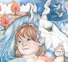Portrait of Isobel and Unicorn by Patricia Ariel