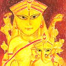 Goddess Durga(Parvati) and Ganpati by Tridib Ghosh